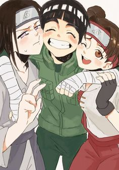Rock lee, neji and tenten! Rock lee is bae Anime Naruto, Anime Chibi, Naruto Uzumaki, Neji E Tenten, Naruto Fan Art, Fanarts Anime, Gaara, Itachi, Kawaii Anime