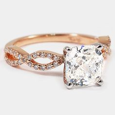 Rose Gold Infinity Diamond Ring // Set with a Carat, Cushion, Very Good Cut, H Color, IF Clarity Diamond beautiful engagement ring! Ring Set, Ring Verlobung, The Bling Ring, Do It Yourself Jewelry, Rose Gold Diamond Ring, Thing 1, Style Classique, Girly, Brilliant Earth