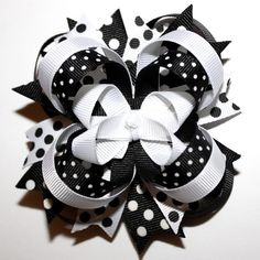 Black and White Affair   @Shelly Stacey...Black and White Polka Dot Stacked Boutique Hair Bow