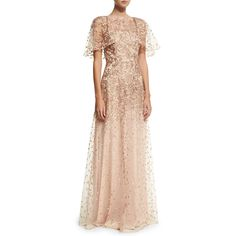 David Meister Wing-Sleeve Embroidered Lace Gown ($750) ❤ liked on Polyvore featuring dresses, gowns, rose gold, lace evening gowns, pink ball gown, pink lace gown, pink lace dress and pink evening gowns