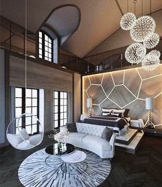 WEBSTA @ modernmansions - Massive master bedroom with a hanging glass chair  #ModernMansions
