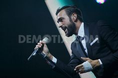 Marco Mengoni performs live on stage in Rome