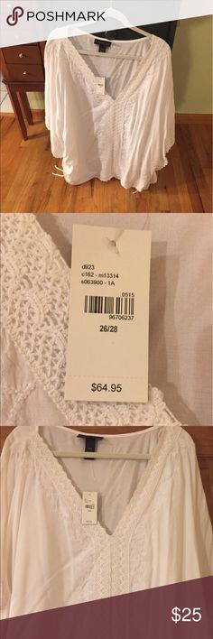 Lane Bryant white lace blouse White lace blouse from lane Bryant Lane Bryant Tops