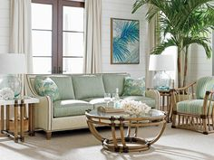 Twin Palms Koko Sofa in White/Green | Tommy Bahama Home | Home Gallery Stores