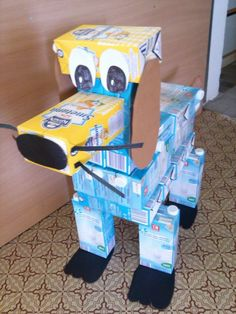Reuse artesanato com caixa de leite crafts kids projects reuse Recycled Robot, Recycled Crafts Kids, Recycled Art Projects, Earth Day Projects, Projects For Kids, Crafts For Kids, Diy Projects, Recycling, Origami Easy