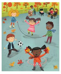 New York Fall Park Scene, Kids Print, Gender Neutral Nursery, NY Park Printable, Neutral Nursery Art Whimsical Nursery, Whimsical Art, Nursery Art, Color Activities, Kids Prints, Children's Book Illustration, Clipart, Kids Playing, Playground