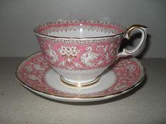 Crown Staffordshire Pink Ellesmere Teacup and Saucer