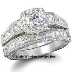 Princess Cut CZ Engagement Ring Wedding Band Set 14k WG 925 Sterling Silver