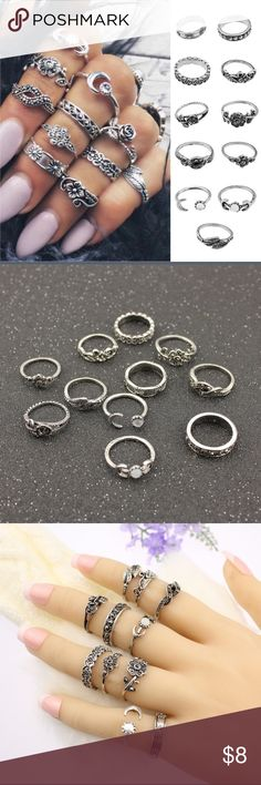 Vintage Floral Moon Knuckle Rings Vintage Floral Moon Knuckle Rings   Features: •Total of eleven rings •Silver color •Intricate detailing •Some have gems/stones •Looks great with manicures Jewelry Rings