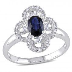 10k White Gold 5/8 Carat T.G.W. Sapphire and 1/6 Carat T.W. Diamond Flower Ring - Sapphire (September) - Gemstones - by Samuels Jewelers