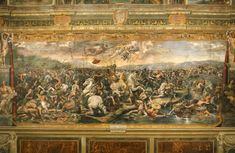 "Battaglia di Costantino contro Massenzio, School of Raffaello Sanzio -Giulio Romano. The Battle of the Milvian Bridge is a fresco in one of the rooms that are now known as the Stanze di Raffaello, in the Apostolic Palace in the Vatican. The Battle of Milvian Bridge, located in the Sala di Costantino (""Hall of Constantine""), is by Giulio Romano and other assistants of the Italian Renaissance artist Raphael. It was most likely painted to Raphael's design between 1520 and 1524."