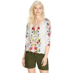 White House Black Market Womens Tropical Floral Peasant Blouse ($50) ❤ liked on Polyvore featuring tops, blouses, petite tops, henley tops, tropical print blouse, raglan top and pleated blouse