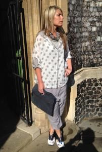 Beautiful spotty shirt from #annettegortz and #rundholz #trousers in plankton. The soft #leather bag from #pieterszoon and blue #lisatucci shoes http://www.walkersofpottergate.com/outfits.php