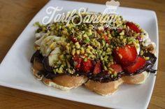 Waffle Tarifi Bruschetta, Vegetable Pizza, Waffles, Tacos, Pasta, Meat, Chicken, Vegetables, Ethnic Recipes