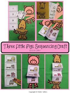 Three little pigs sequencing activity for retelling the three little pigs