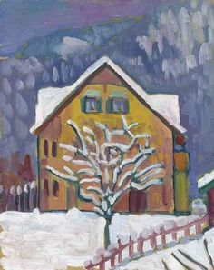 Gabriele Münter (German, 1877-1962), Gelbes Haus mit Schneebäumchen [Yellow house with snowy tree], c.1909. Oil on board, 41.3 x 33 cm.