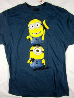 NWT Despicable Me Minion soft men's tee funny Movie 50/50 shirt men's LARGE #DespicableMe #GraphicTee