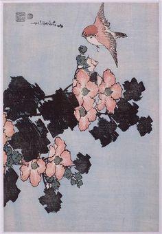 Katsushika Hokusai  Hibiscus and Sparrow