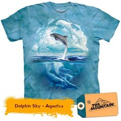 Tricouri The Mountain – Tricou Dolphin Sky Dolphins, Mountain, Sky, Mens Tops, T Shirt, Heaven, Tee, Tee Shirt
