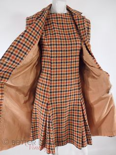 Plaid Tweed Shift Dress & Coat Set in Blue Orange Olive Taupe - med, lg by Better Dresses Vintage fashion style inspiration. Please choose vegan 1960s Fashion, Look Fashion, Vintage Fashion, Womens Fashion, Fashion Trends, Fashion Coat, Fashion Tips, Women's Dresses, Nice Dresses