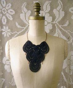 lace bib necklace - INDIRA - statement necklace - black necklace - boho necklace - unique jewelry