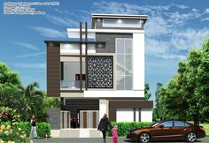 Front elevation Duplex House Design, House Front Design, Dream Home Design, Modern House Design, Villa Design, Facade Design, Exterior Design, Architecture Design, Building Elevation