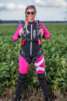 0c24461df9eb Kua Sky women s pink freefly skydiving jumpsuit in pink and Mirage Systems  container. Skydiving