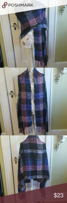 """Juicy Couture Wrap NWT Black, blue, white, & pink plan.  Fringe100% Poly  Very Soft 76"""" x 26"""" Juicy Couture Accessories Scarves & Wraps"""