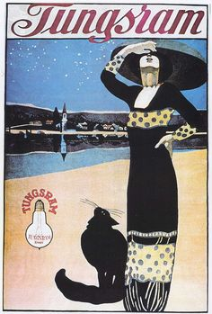 File:Faragó Tungsram light bulb advertisement c. Vintage Advertising Posters, Vintage Advertisements, Vintage Ads, Vintage Posters, Retro Posters, Movie Posters, Armelle, Illustrations And Posters, Graphic Illustration