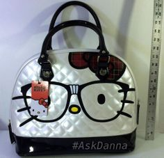 NWT Longefly HELLO KITTY w/Glasses LARGE Handbag BOWLER BAG Purse Tote #HelloKitty #BOWLER #ebay #askdanna #bowler