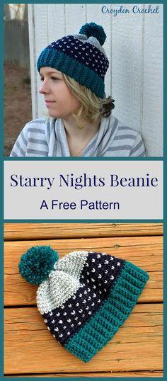 FREE PATTERN - This Starry Nights Beanie pattern is a great beginner friendly fair isle crochet pattern!