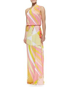Fenice-Print Asymmetric Blouson Maxi Dress by Emilio Pucci at Bergdorf Goodman.