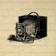 Digital Image Antique Camera Download Old Fashioned Printable Illustration Graphic Artwork Vintage Clip Art. Printable high resolution digital graphic from vintage artwork for transfers, making prints, and more great uses. For personal or commercial use. This image is high quality at 8½ x 11 inches large. A Transparent background png version is included.