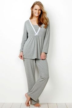 Practical doesn't have to be dull - our grey nursing pyjamas are the BEST thing to be lounging around in after giving birth!