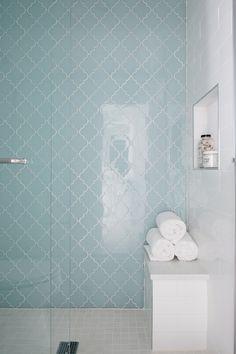 Shower Tile Accent Tile Arabesque Tile Arabesque Glass Tile White Subway Tile 4x16 Tile Shower Pan Tile 2x2 Mosaic Tile Shower Accent Tile, Glass Tile Shower, Mosaic Shower Tile, Tile Accent Wall, Bath Tiles, Shower Floor, Small Bathroom With Shower, Master Bathroom, Bathroom Ideas