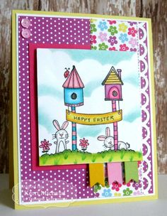 Happy Easter Wishes Card by Kerri Michaud #Cardmaking, #TEMatched, #Easter, #Spring, #WishesonaWire, #TE, #ShareJoy
