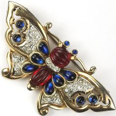 Trifari 'Alfred Philippe' Melon Cut Rubies and Sapphires Moghul Butterfly Pin