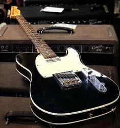 electric guitar design ideas Fender Custom Telecaster in black Vintage Telecaster, Fender Stratocaster, Telecaster Custom, Vintage Guitars, Black Telecaster, Fender Bass Guitar, Fender Acoustic, Gibson Guitars, Fender Guitars