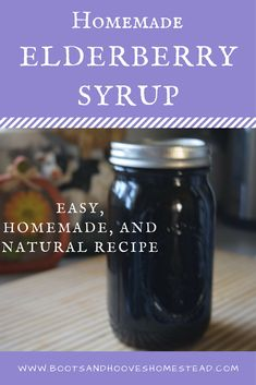 Easy Homemade Elderberry Syrup recipe. Natural recipe. Frugal. Healthy recipe. Natural health.