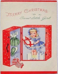 Front of vintage Christmas card of adorable doll in a red polka-dot trunk. Holiday Images, Vintage Christmas Images, Retro Christmas, Vintage Holiday, Christmas Art, Christmas Girls, Vintage Images, Vintage Greeting Cards, Christmas Greeting Cards