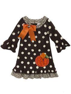 Toddler & Little Girls Pumpkin Applique Dress by Rare Editions, Sizes 2T-6X