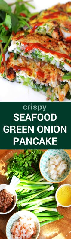 Pajeon Korean Seafood Scallion Pancake Dongrae Haemul Pajeon Crispy Korean Seafood Green Onion Pancake Great As Appetizer Side Dish Snack Or Even As A Main Dish - Seafood Fish Recipes, Seafood Recipes, Asian Recipes, Cooking Recipes, Healthy Recipes, Pancake Recipes, Cheap Recipes, Spicy Recipes, Veggie Recipes