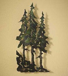 Evergreen Metal Wall Art --idea for wall in living room Metal Tree Wall Art, Metal Artwork, Metal Sculpture Wall Art, Metal Projects, Metal Crafts, Pine Tree Silhouette, Plasma Cutter Art, Wire Art, Metal Walls
