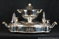 Antique Sheffield Silver Plate Lazy Susan Server 1880