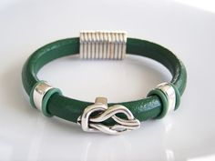 Regaliz Green Leather Bracelet with Silver by Joannsfortheluvofit, $30.00