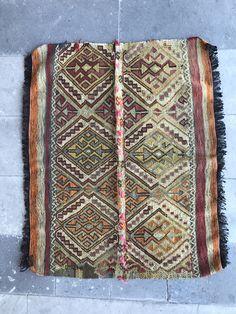 Super Fine Vintage Turkish Anatolian Kilim Rug, Small Kilim Rug, Boho Chic, Symetric Design by NotonlyRugs on Etsy