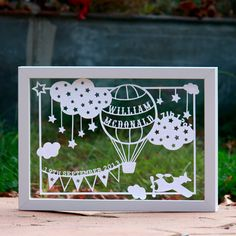 Personalised New Baby Boy Framed Papercut | giftwrappedandgorgeous.co.uk