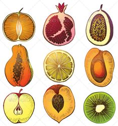 Fruit Halfs #GraphicRiver Hand drawn fruit halfs. Eps 10 and Ai CS 3 included. Created: 19June13 GraphicsFilesIncluded: VectorEPS #AIIllustrator Layered: No MinimumAdobeCSVersion: CS3 Tags: Mandarin #PassionFruit #apricot #citrus #cross #food #freshness #fruit #grapefruit #graphic #half #handdrawn #juicy #kiwi #lemon #lime #maracuya #nature #orange #papaya #part #peach #peel #pomegranate #ripe #section #seed #sweet #tangerine #tropical