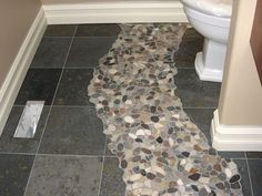 Slate And River Rocks Grey Bathroom Floor Bathrooms Flooring Gray