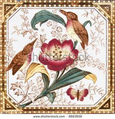 stock photo : Victorian aesthetic period painted bird design tile